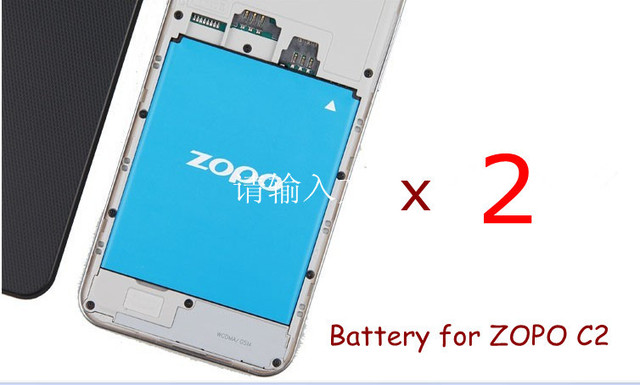 Cheap price, Free Shipping 2 pcs/lot of new ZOPO Battery for ZOPO C2 and ZOPO ZP980 Cell Phone