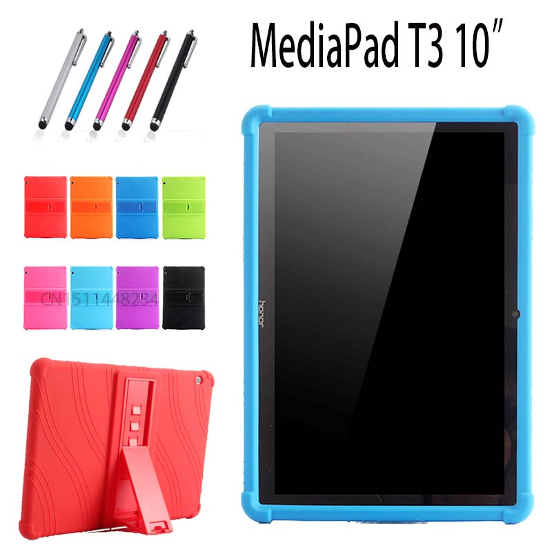 AORUIIKA Case For Huawei MediaPad T3 10 AGS-W09/L09/L03 9.6 child Tablet case, Thickening Shockproof Silicone stand Back cover case for huawei honor 7x shockproof with stand 360 rotation back cover contrast color hard pc