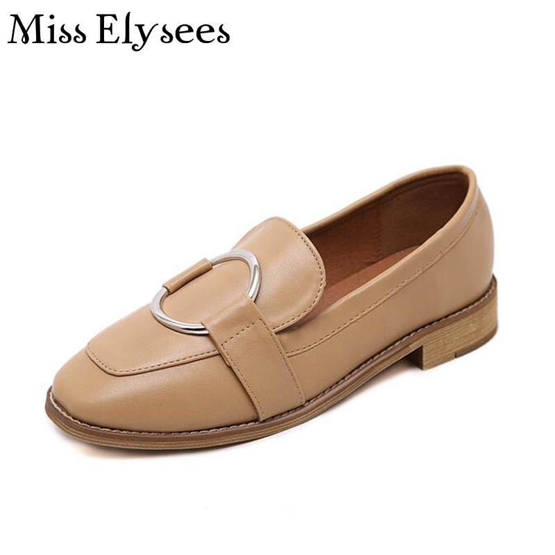 Soft Leather Women Loafers Square Toe Fashion Casual Shoes for Woman Buckle Slip on Women Flats Female Footwear Spring Shoes