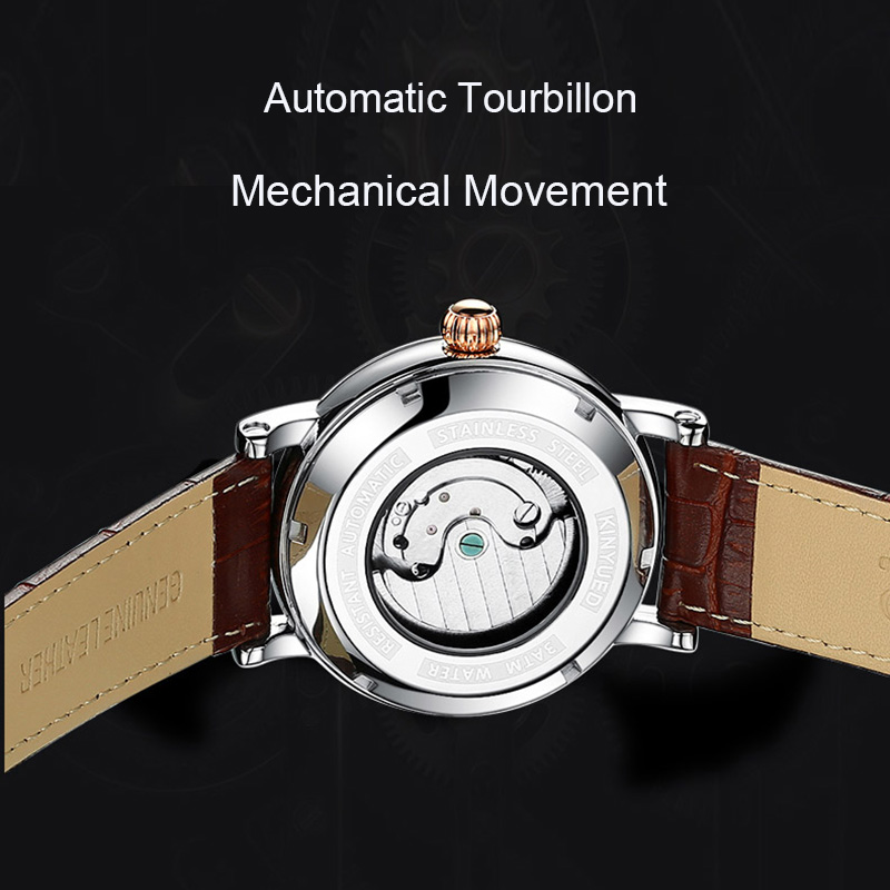 KINYUED Mens Automatic Chronograph Watches Fashion Business Mechanical Skeleton Watch Men Rose Gold montre automatique homme
