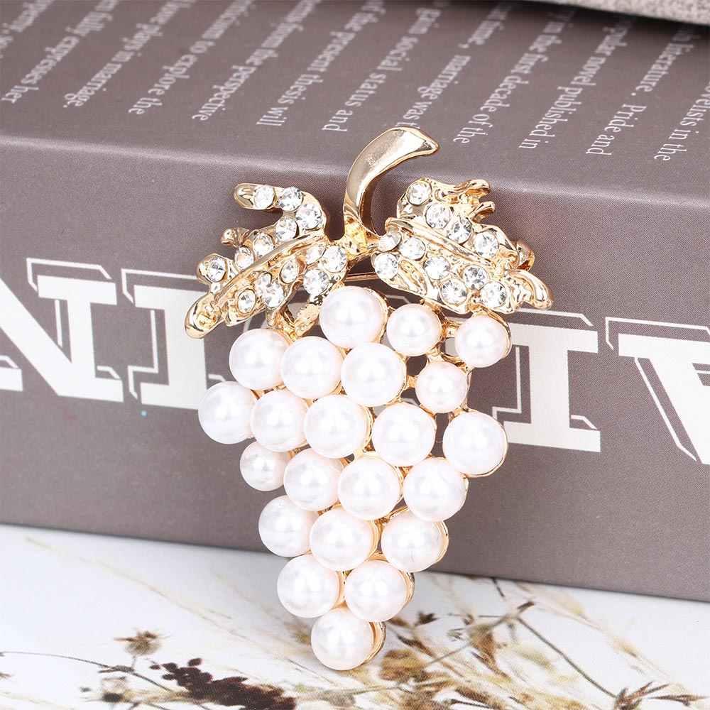 Anggur Bros Mawar Emas Imitasi Mutiara Bros Kristal Berlian Imitasi Bunga untuk Pernikahan Gaun Pengantin Syal Gesper Pin