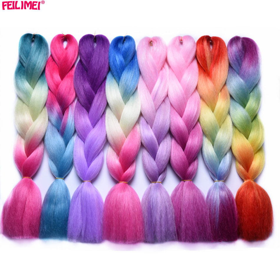 Feilimei Ombre Braiding Hair Extensions Synthetic Japanese Fiber Jumbo Braids 24 Inch 100g/pc Females Purple Pink Crochet Hair Diversified In Packaging Jumbo Braids Hair Extensions & Wigs