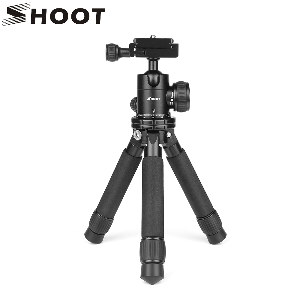 SHOOT Mini Aluminum Alloy Desktop Camera Tripod for Canon Nikon Sony DSLR Stand Holder Lightweight Table Tripod with Ball head mefoto a0320q00 aluminum alloy mini camera tripod portable desktop tripod stand support steady hold camera with tripod head