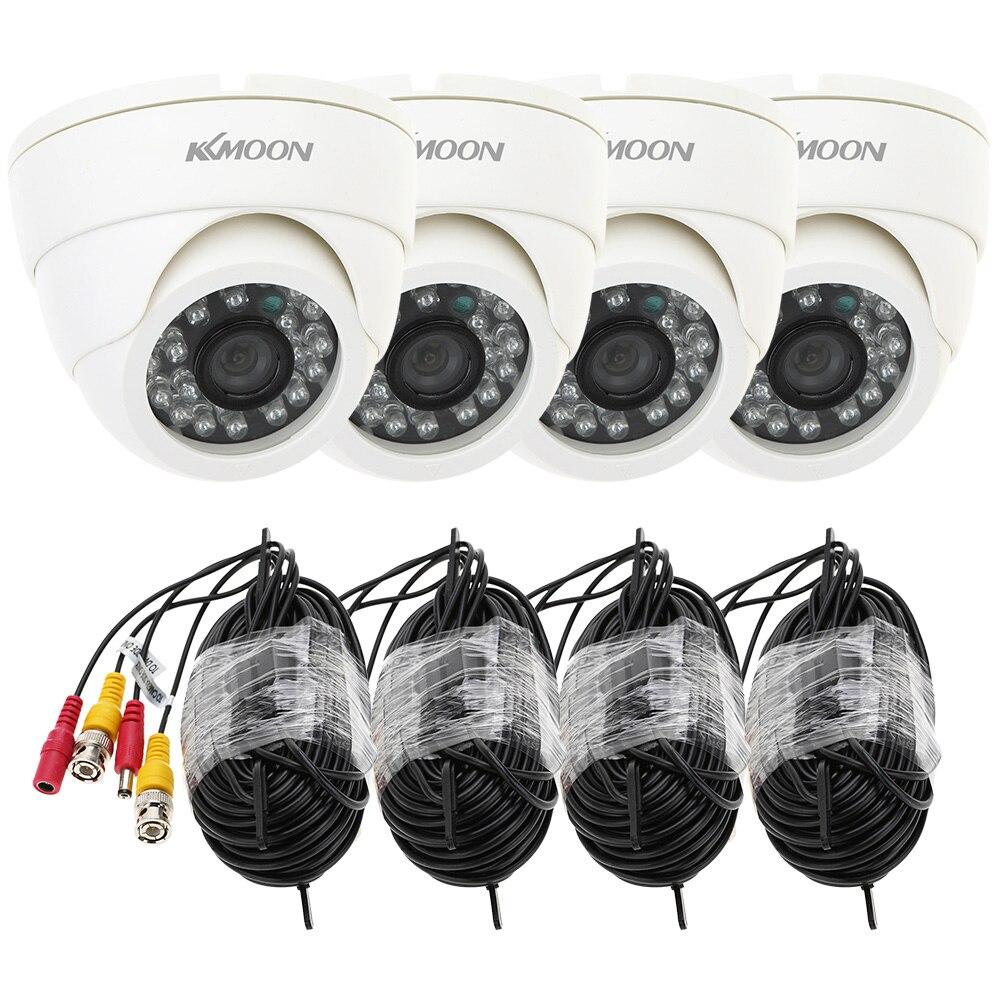 bilder für KKmoon 4 stücke 800TVL Überwachungskamera Kit IR Nachtsicht mit 4 * 60ft Video Kabel 24 Leds Kamera Für Heimüberwachungssystem Kit
