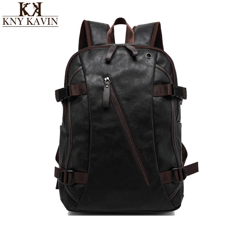KNY KAVIN Men Backpacks Mix Cow Leather Fashion Backpack Travel Bags Western College Style Bags High Quality Mochila Masculina retrospect of western travel