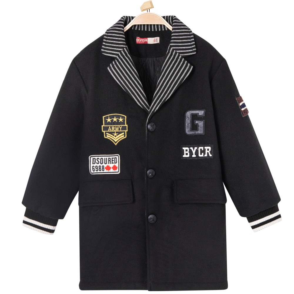 Baseball Jacket Wool Coat Winter Blend Thermal Single Breasted Letter Patches Pockets Outerwear for Boys Kids Children Trench color patchwork pockets design baseball jacket