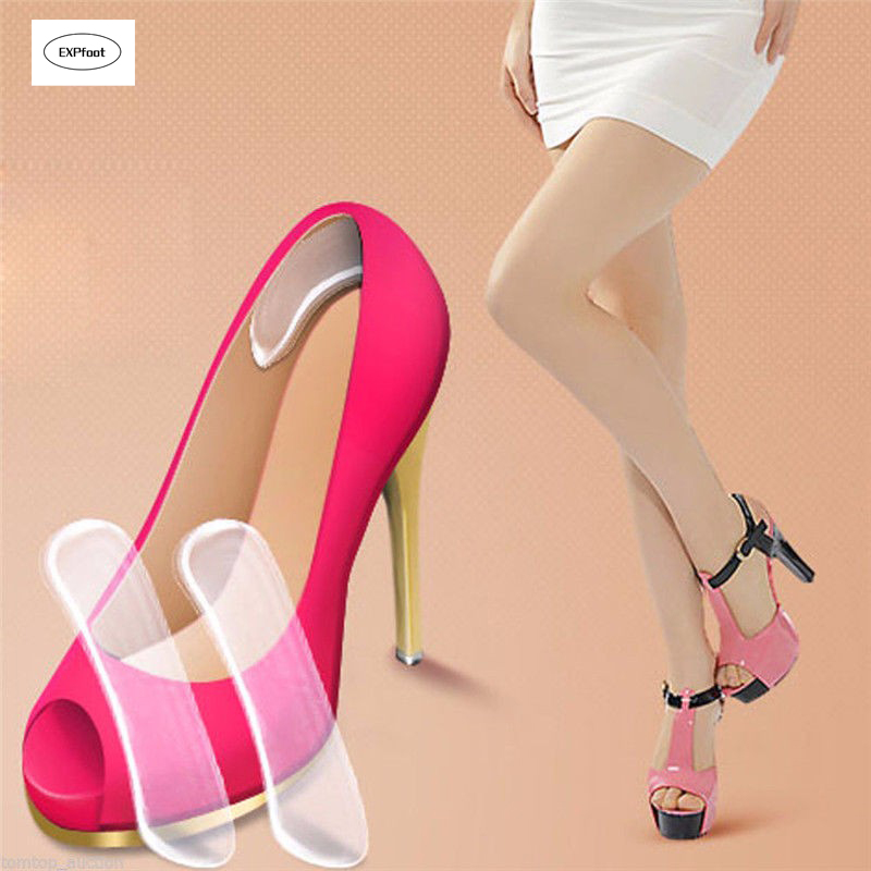 1 pair Women's Silicone Gel Heel Cushion protector Foot feet Care Shoe Insert Pad Insole Female Protector for foot sagace shoe insoles silicone gel heel cushion protector foot feet care shoe insert pad insole invisible high heels may22 40