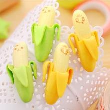 4 Pcs Banana Expression Eraser Lovely Fruit Shape Mini Eraser Fruits Eraser Office School Supplies Children