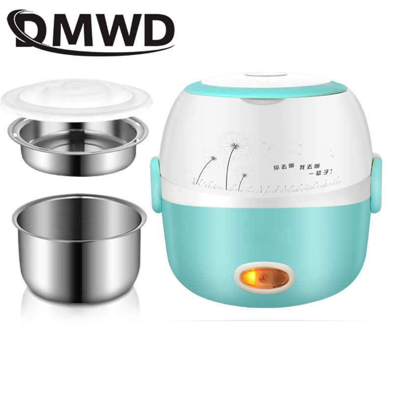 DMWD MINI kuchenka do ryżu ogrzewanie termiczne elektryczne pudełko na Lunch 2 warstwy przenośne jedzenie parowiec gotowanie pojemnik posiłek Lunchbox cieplej