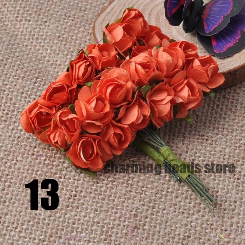 24 шт. 15 мм мини искусственный Бумага розы букет Свадебный декор Скрапбукинг DIY cp0022x - Цвет: 13