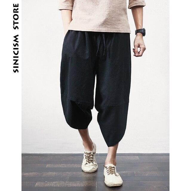 Sinicism Store Cotton Linen Mens Harem Pants Summer Male Casual Calf-Length Pants 2020 Solid Big Pocket Baggy Pants Trousers 59