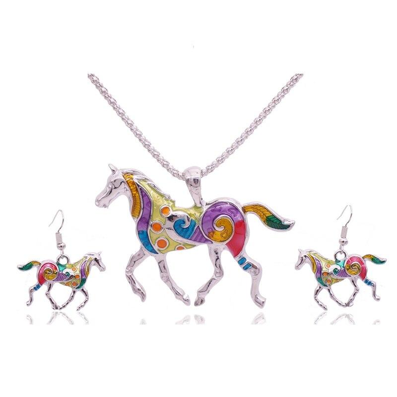 Schmuck Sets Mieehoo 100 Neueste Europäischen Und Amerikanischen Fashion Sea Horse übertrieben Farbe Halskette Ohrringe Set Anti-allergische Zubehör