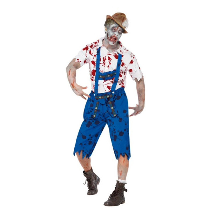 2018 New Halloween Men's Adult Cosplay Play Costumes High Quality Halloween Blood Vampire Zombie Costume Horror Gothic Stage Per