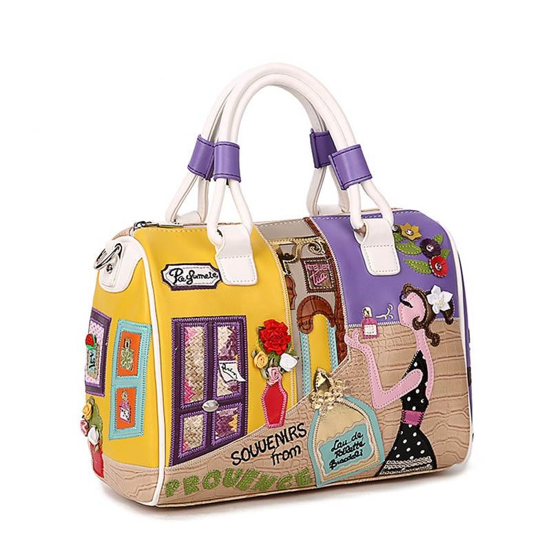 Candy Color Leather Handbags Italian Stylish PU Tote Bag