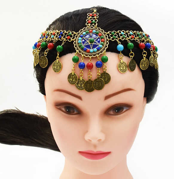 Egypt Gypsy Boho Gold Coin Tassel Necklace Head Chain Jhumka Belly Dance Chains Party Rhinestone Turkish Indian Tribal Jewelry