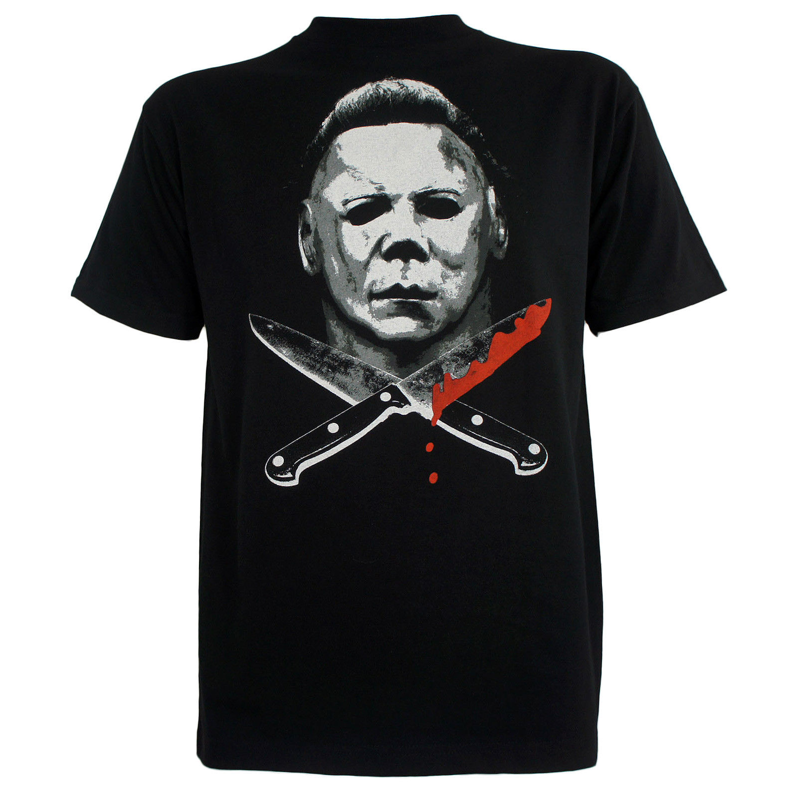 Authentic HALLOWEEN Movie Michael Myers Knives Face T-Shirt S-3XL NEW T Shirts Man Clothing Free Shipping Top Tee Plus Size