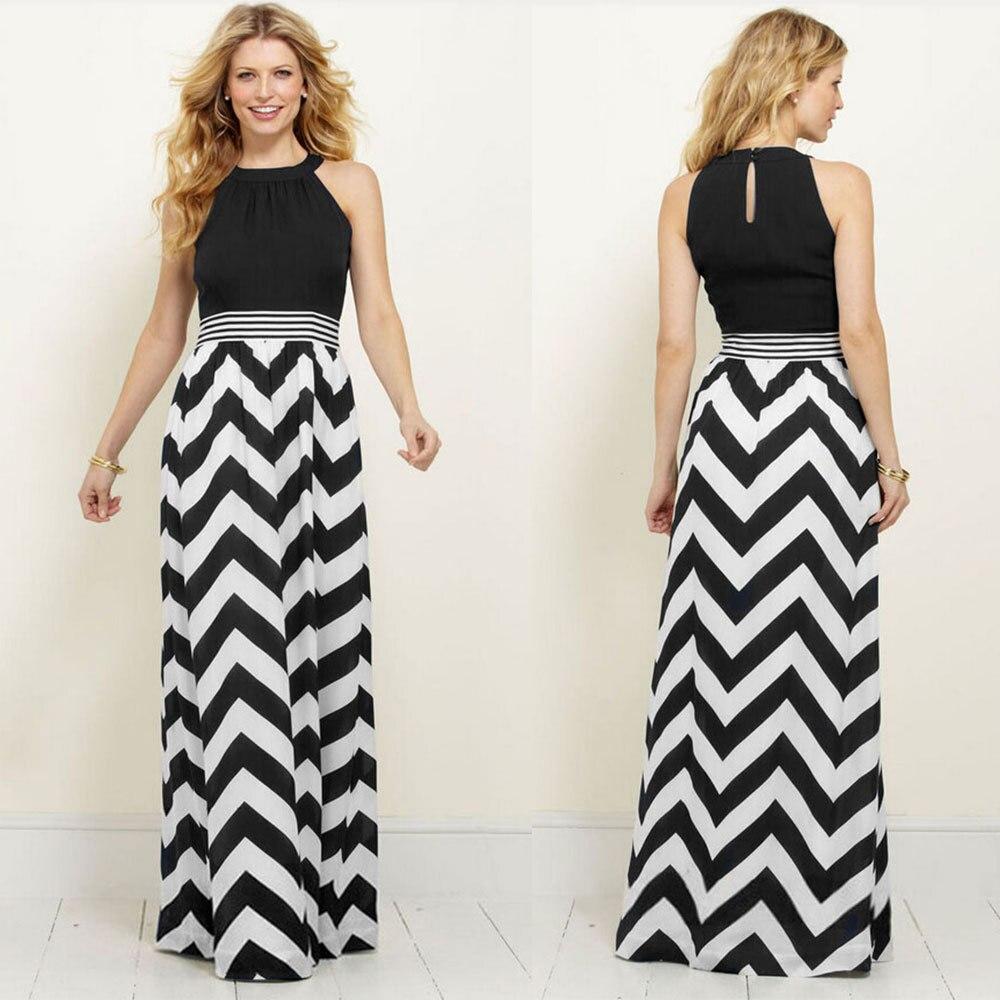 43549abbcdf8 Click here to Buy Now!! Модные женские туфли летние тонкий Кружево  шифоновое платье в полоску волна длинное ...