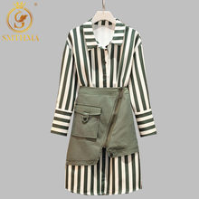 New Autumn And Winter 2 Piece Set Women's Long Striped Tshirt Tops+Green Mini Skirt Sets Women Fashion Plus Size Skirts Suits(China)