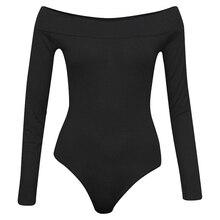 Women Bodysuit Off Shoulder Long Sleeve