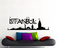Free Shipping Istanbul Wall Sticker Turkey Famous Silhouette Landscape Word City Vinyl Decal Home Room Interior Decor Art Mural