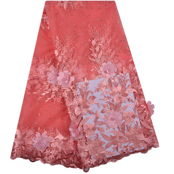 Latest 2018 orange Nigerian French Mesh Lace Fabric With And Bead High Quality African Bridal Lace Fabrics For Wedding  S1240