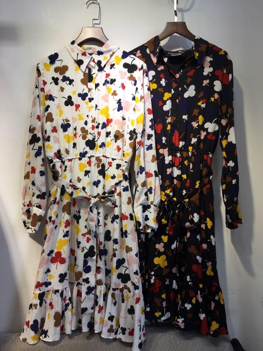 2019 high quality ladies silk printed belt long sleeve belt female elegant dress 0313