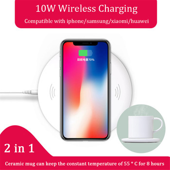 Q1 Fast wireless charging pad 15W dock station charger 2 in 1 funny electric warmer ceramic mug set coffee tea cup for iphone
