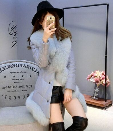 2016 Winter Leather Jacket, Long Fox Fur Sheep Skin Leather Jacket Lady Girl With Fox Fur Collar Fur Coat Winter Jacket Women