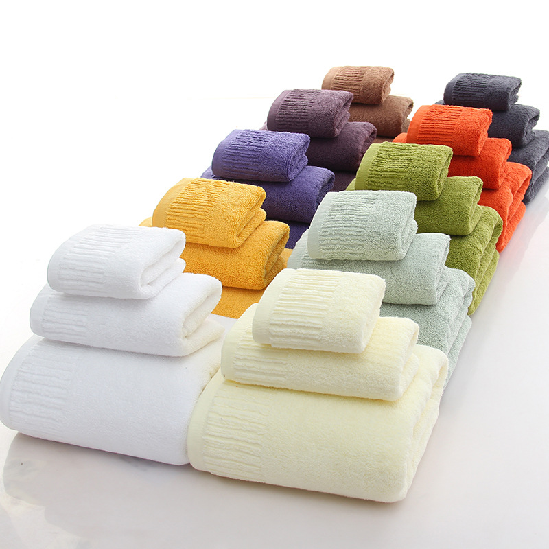 3pcs/set Cotton Solid Face Cleaning Hair Bath Bathing Towel Unisex Adult Gift 34*34cm 34*76cm 70*140cm