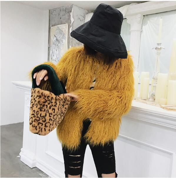 Fourrure Chaud Garder Manteau Nouvelles Manches Pouces Tops 2018 Courte 4 Femmes Outwear Mouton Jaune Automne Long Hiver Shaggy Poilu Fausse Au De HIIwq5T