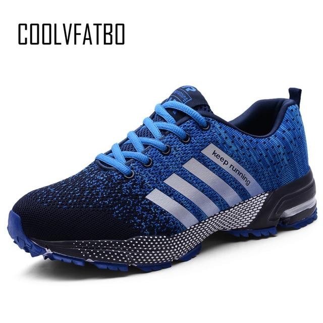 7459c48535 COOLVFATBO Esporte Correndo Homens Sapatos Par Casuais Flats Sneakers Malha  Respirável sapatos de Caminhada Ao Ar Livre Calçados Esportivos Formadores  48
