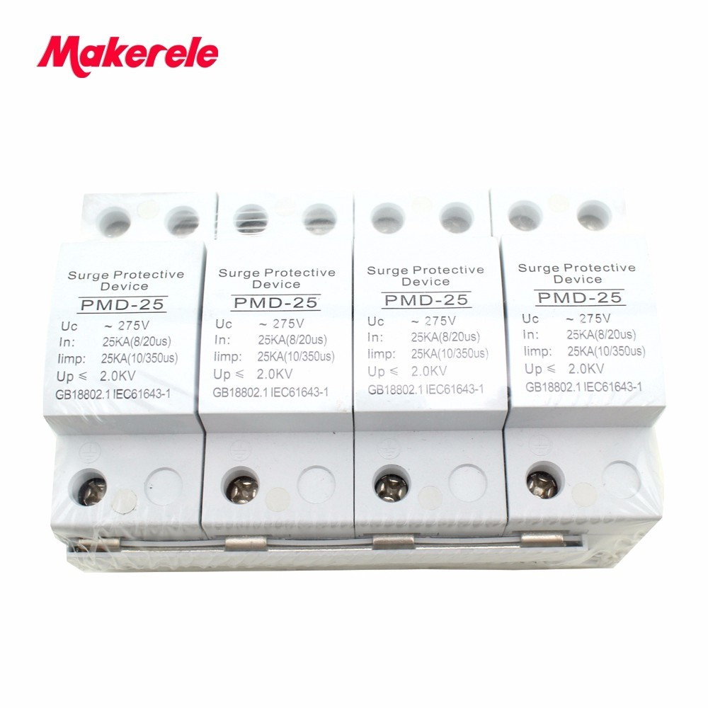 Lightning Surge Protector Switch Type for AC Power SPD 4P 25KA ~275VAC House Protective Low-voltage Arrester Device high quality surge lightning protector spd 20ka