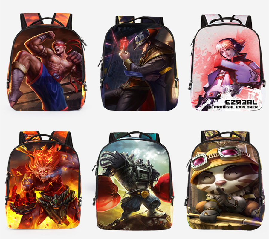 League of Legends 3D Waterproof Printing student College Wind Leisure travel outdoor multifunctional High Capacity backpack New