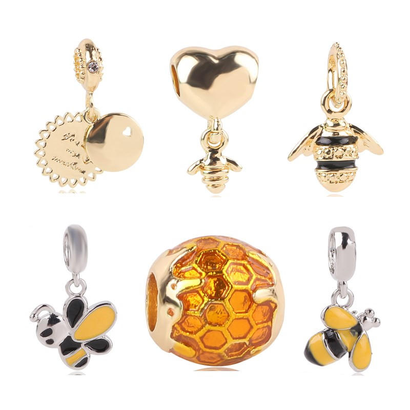 Couqcy 2018 New Golden Heart&Bee Honey Comb Family Tree Infinity Flower Love Clip&Bead Fits Pandora Charm Bracelet
