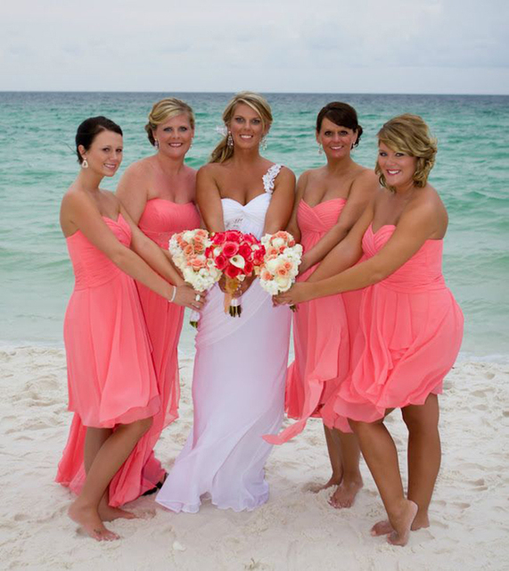 New Summer Beach Wedding Bridesmaid Dresses Short Above Knee Pleated C Colored Prom For Junior