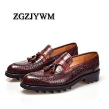 ZGZJYWM גברים של סגנון בריטי אמיתי תנין דפוס עור מחודדת הבוהן שרוכים עור פרה שמלת חתונה שטוח אוקספורד גברים נעליים