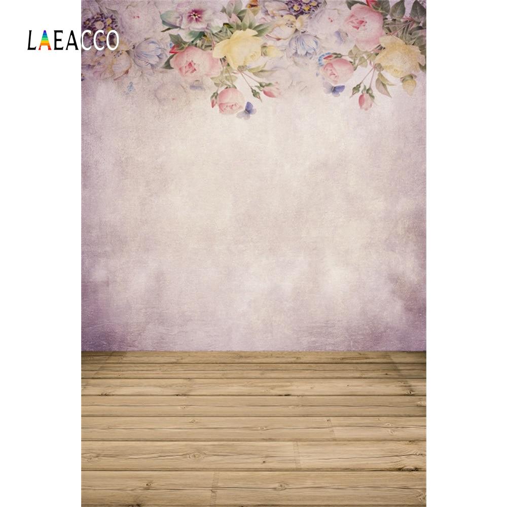 Laeacco flor pintura al óleo pared madera suelo retrato fotografía - Cámara y foto - foto 2
