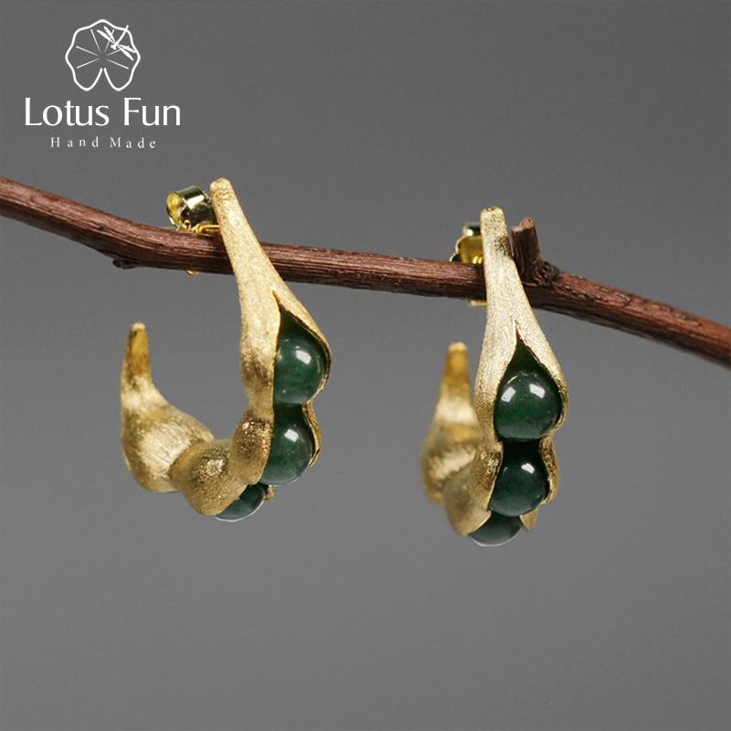 Lotus Fun 925 Sterling Silver Earrings Wedding Earings Fashion Jewelry 2018 Green Aventurine Bean Hanging Stud Earring for Women