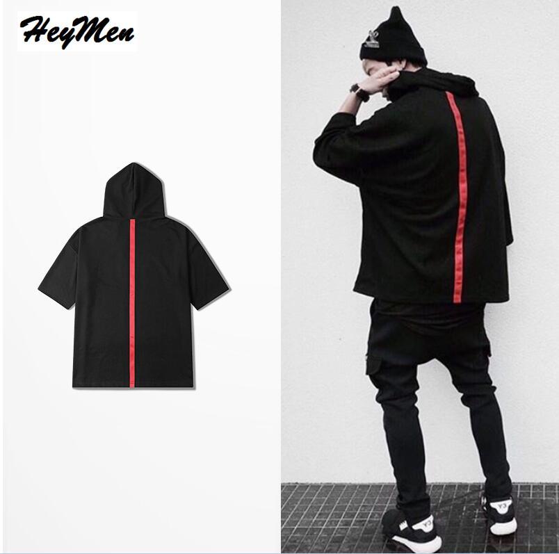 2017 new High Street Half Sleeve Hoodies Men Women Hip Hop Skateboard Red Stripe Sweatshirt Justin Bieber Mens outwear