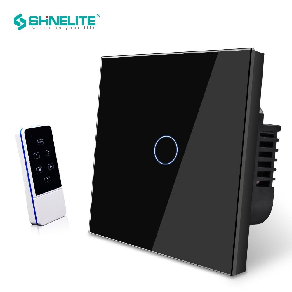 EU Standard 1 Gang Remote Control Wall Switch Glass Panel Wireless Electrical Touch Light Switch with Remote Control Shinelite цена