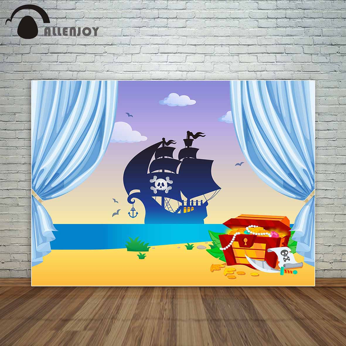Allenjoy pirate ship background blue curtains treasure beach seaside children party backdrop fund photo booth for the photo трусы finn the treasure
