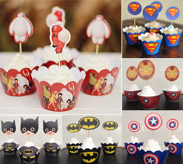 12pcs Set Big Hero 6 Baymax Cupcake Wrapperstoppers Picks Decoration Kids Birthday Party Favors Baby Shower Cases Liner