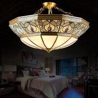 Европейский меди Потолочные светильники Винтаж Американский спальня лампа половина Прихожая кабинет атмосферу потолочные светильники