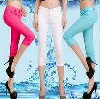 Hot 2013 Candy Color Capris Plus Size Capris Basic Shorts Female Trousers Women S Summer Stretch
