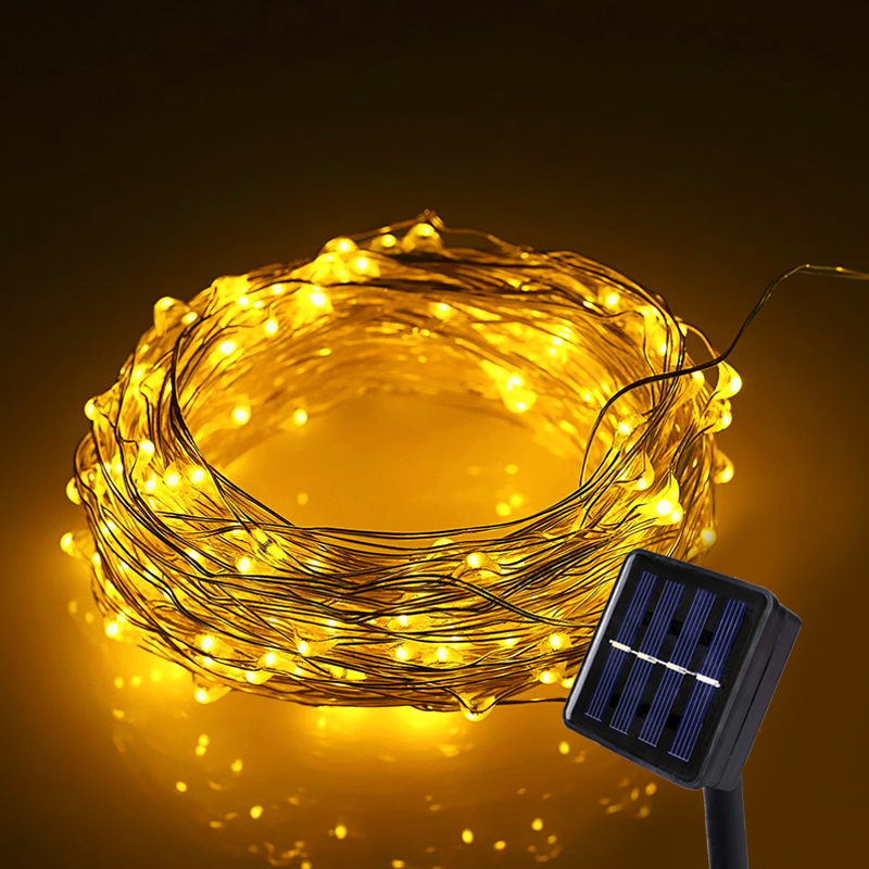 LED String Light 10M LED Solar Fairy Lights Waterproof Outdoor Lighting High Bright Copper Wire For Christmas Decoration Mariage