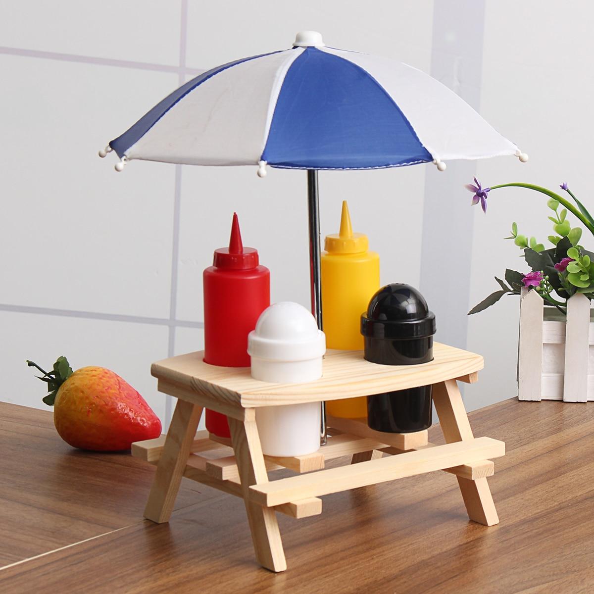 Tavolo Ombrellone Panchina Ampolla Condimento Vaso Set Sale Pepe Bottiglia di Salsa di Supporto Picnic Camping BBQ Accessori Da Cucina Condimento Cremagliera