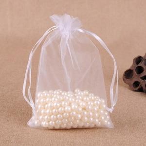 Сумки из органзы 25x35 см 100 шт./лот большие подарочные упаковочные сумки на шнурке с логотипом на заказ