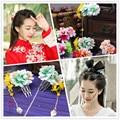 Cloth Flower Aesthetic Bride Hair Accessories with Little Tassel Wedding Hair Combs cos Hanfu Hair Accessories Hair Jewelry