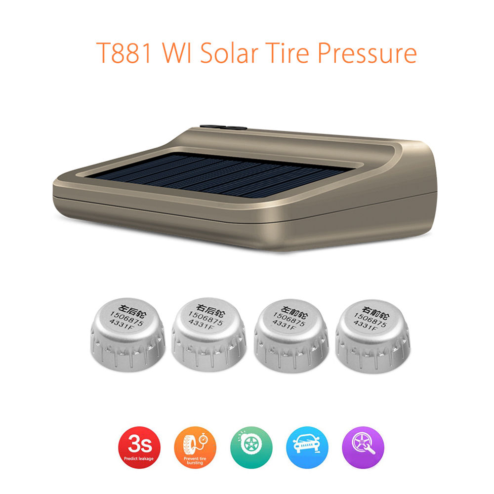 Blueskysea T881 Solar Tire Pressure Control System font b TPMS b font WI Connection Auto pair