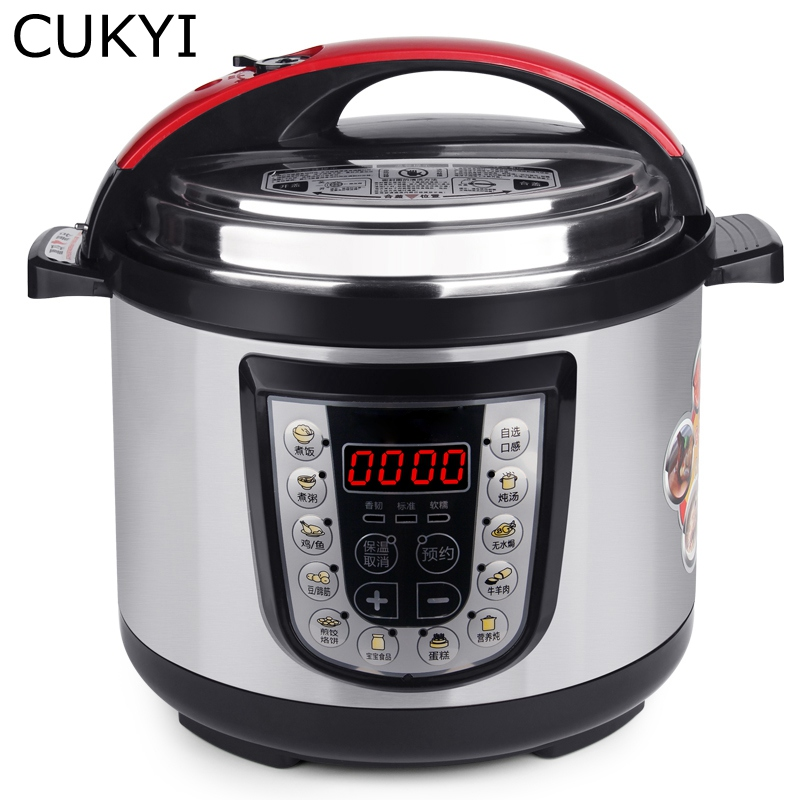 CUKYI Multi-functional Programmable Pressure Cooker Rice cooker Pressure slow cooking pot Cooker 4 Quart 900W Stainless Steel cukyi household electric multi function cooker 220v stainless steel colorful stew cook steam machine 5 in 1